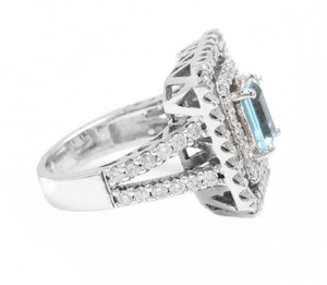 2.80 Carats Natural Aquamarine and Diamond 14K Solid White Gold Ring