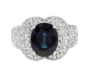 6.20 Carats Exquisite Natural Blue Sapphire and Diamond 14K Solid White Gold Ring