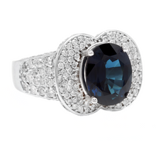 Load image into Gallery viewer, 6.20 Carats Exquisite Natural Blue Sapphire and Diamond 14K Solid White Gold Ring