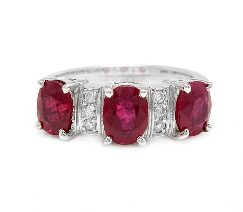 4.15 Carats Impressive Natural Red Ruby and Diamond 14K White Gold Ring