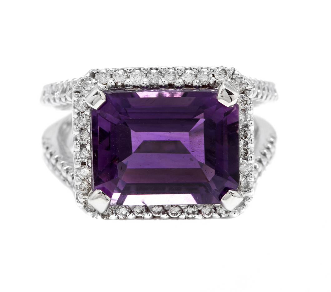 7.85 Carats Natural Amethyst and Diamond 14K Solid White Gold Ring