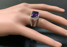 Load image into Gallery viewer, 7.85 Carats Natural Amethyst and Diamond 14K Solid White Gold Ring