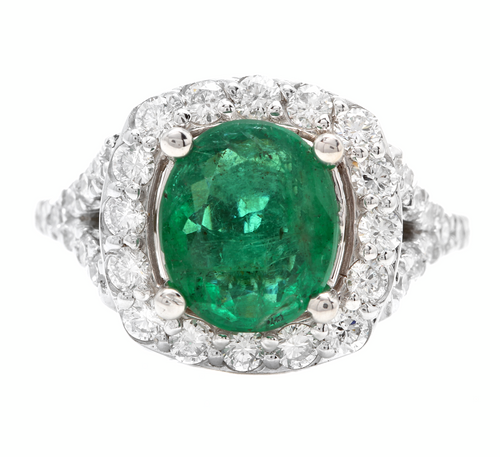 4.65 Carats Natural Emerald and Diamond 14K Solid White Gold Ring