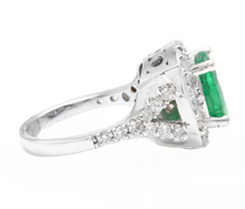 Load image into Gallery viewer, 4.65 Carats Natural Emerald and Diamond 14K Solid White Gold Ring