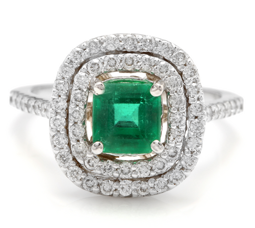 2.00 Carats Natural Emerald and Diamond 14K Solid White Gold Ring