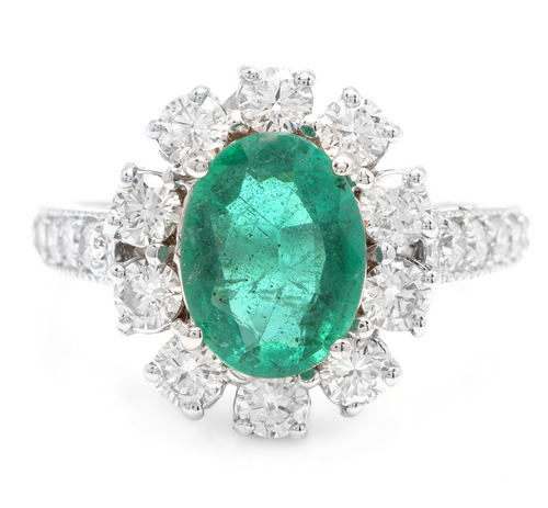 3.20 Carats Exquisite Emerald and Diamond 14K Solid White Gold Ring