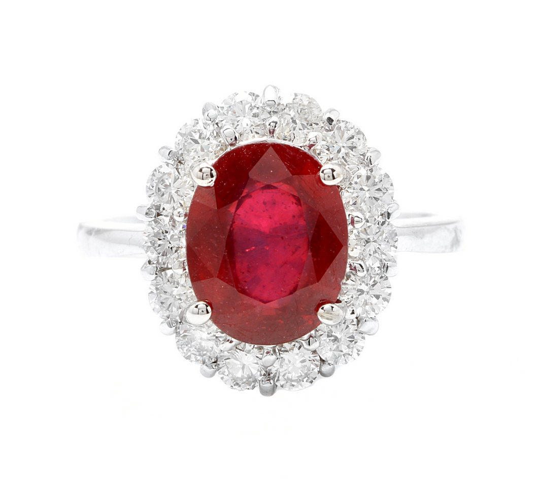 5.00 Carats Impressive Red Ruby and Natural Diamond 14K White Gold Ring
