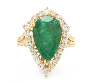 8.20 Carats Natural Emerald and Diamond 14K Solid Yellow Gold Ring