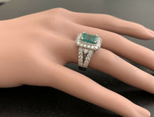 Load image into Gallery viewer, 3.80ct Natural Emerald & Diamond 14k Solid White Gold Ring
