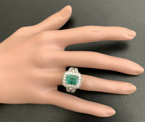 3.80ct Natural Emerald & Diamond 14k Solid White Gold Ring