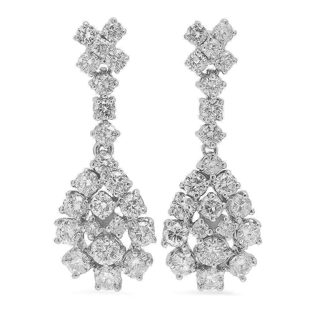 3.00ct Natural Diamond 14k Solid White Gold Dangle Earrings