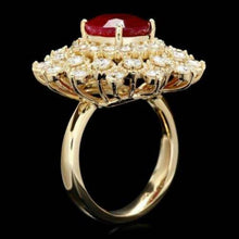 Load image into Gallery viewer, 6.00 Carats Natural Red Ruby and Diamond 14k Solid Yellow Gold Ring