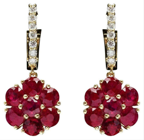 6.55ct Ruby and Natural Diamond 14k Solid White Gold Earrings