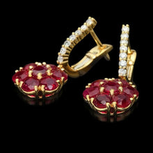 Load image into Gallery viewer, 6.55ct Ruby and Natural Diamond 14k Solid White Gold Earrings