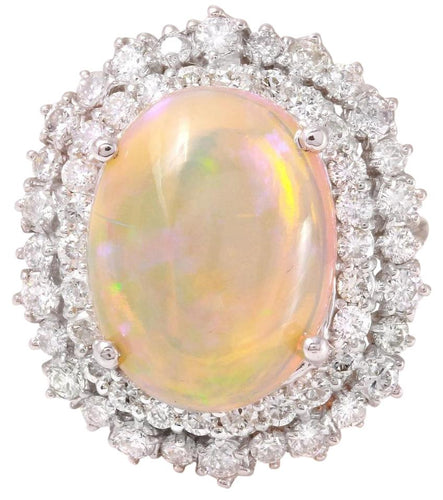8.31 Carats Natural Impressive Ethiopian Opal and Diamond 14K Solid White Gold Ring