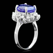 Load image into Gallery viewer, 7.50 Carats Natural Tanzanite and Diamond 14k Solid White Gold Ring