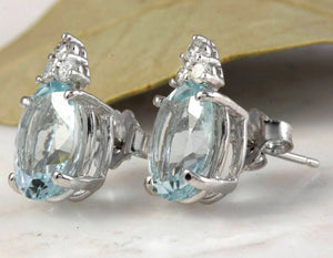 4.25 Ct Natural Aquamarine and Diamond 14k Solid White Gold Stud Earrings