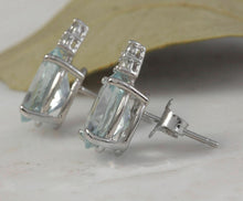 Load image into Gallery viewer, 4.25 Ct Natural Aquamarine and Diamond 14k Solid White Gold Stud Earrings