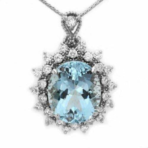 6.80ct Natural Aquamarine and Diamond 14k Solid White Gold Necklace