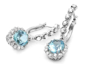 5.00ct Natural Aquamarine and Diamond 14k Solid White Gold Earrings