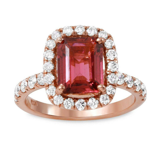 3.00 Carats Natural Tourmaline and Diamond 14k Solid Rose Gold Ring