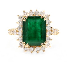 Load image into Gallery viewer, 5.20ct Natural Emerald & Diamond 14k Solid Yellow Gold Ring