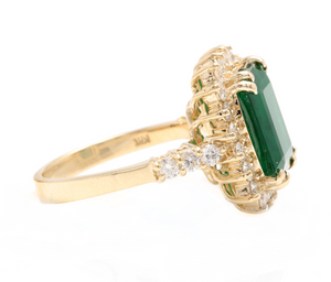 5.20ct Natural Emerald & Diamond 14k Solid Yellow Gold Ring