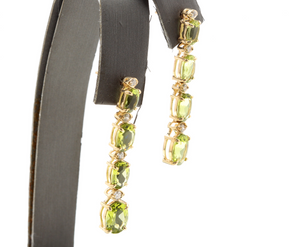 9.40ct Natural Peridot and Diamond 14k Solid Yellow Gold Earrings