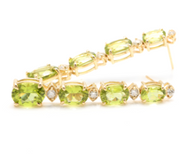 Load image into Gallery viewer, 9.40ct Natural Peridot and Diamond 14k Solid Yellow Gold Earrings