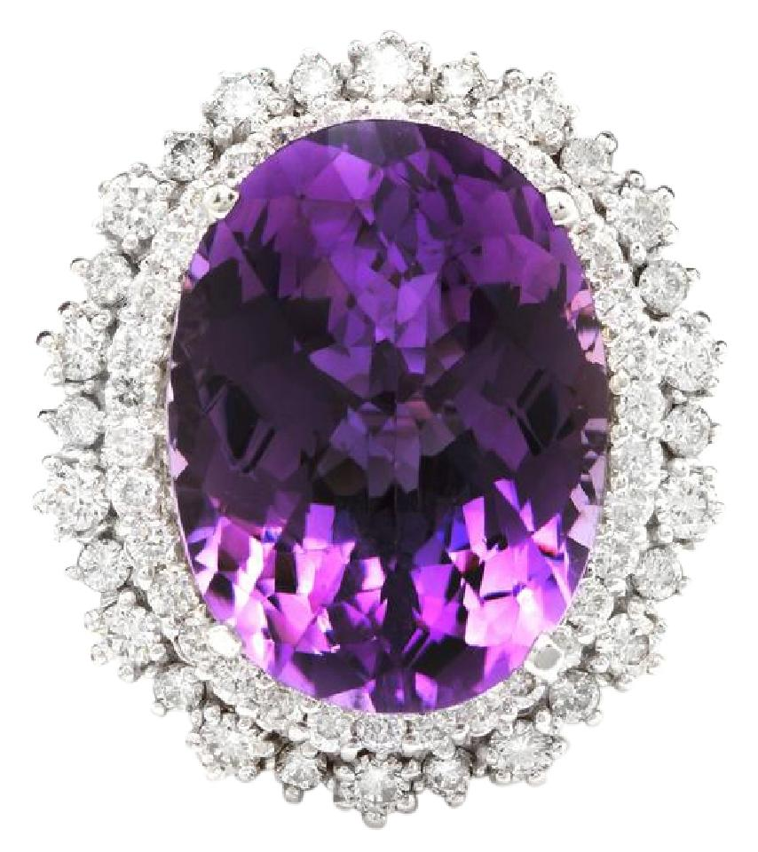 17.52 Carats Natural Amethyst and Diamond 14K Solid White Gold Ring