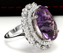 Load image into Gallery viewer, 17.52 Carats Natural Amethyst and Diamond 14K Solid White Gold Ring