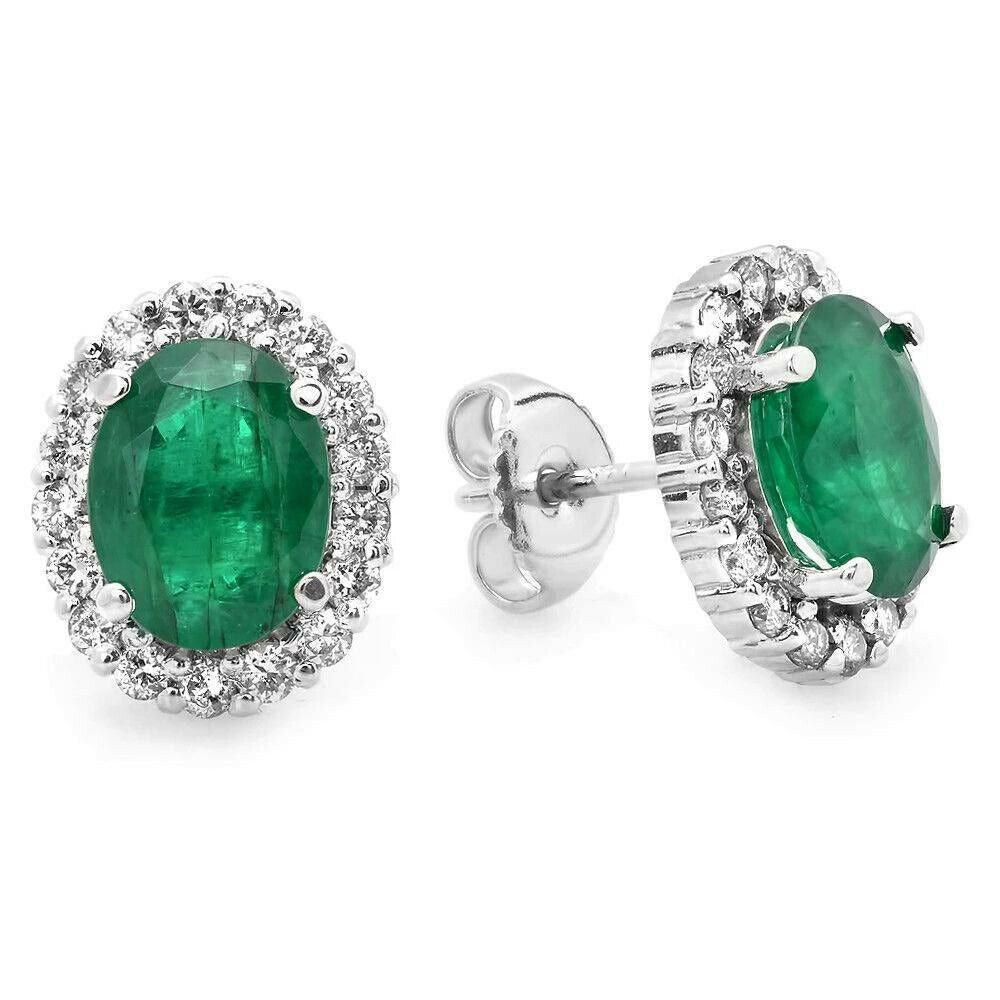 4.75ct Natural Emerald and Diamond 14k Solid White Gold Earrings