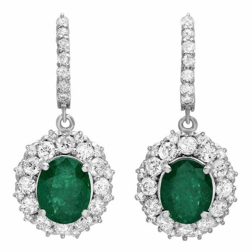 7.60 Carats Natural Emerald and Diamond 14k Solid White Gold Earrings