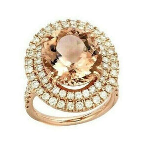 9.40 Carats Natural Morganite and Diamond 14k Solid Rose Gold Ring