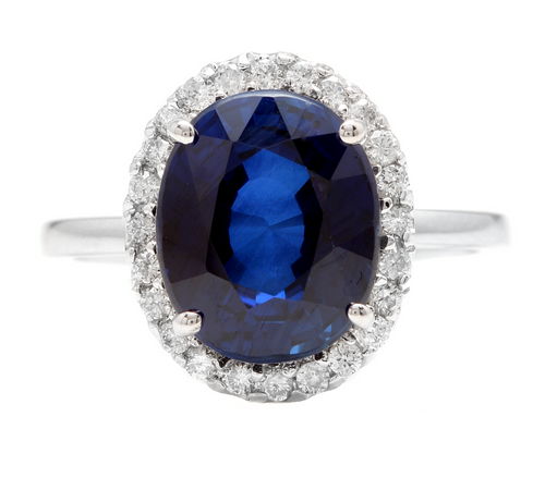 6.35ct Lab Ceylon Blue Sapphire & Natural Diamond 14k Solid White Gold Ring
