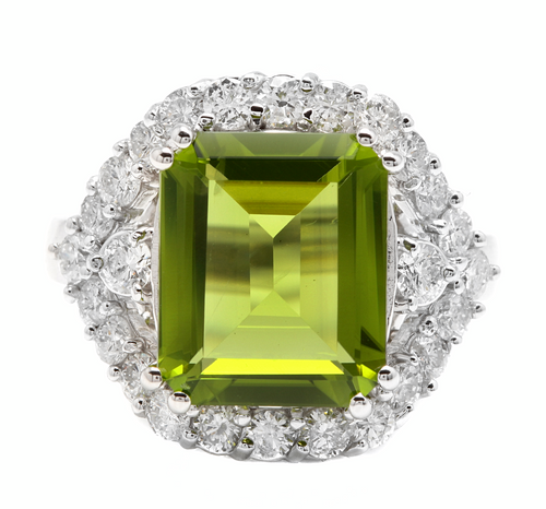 9.00 Carats Natural Peridot and Diamond 14k Solid White Gold Ring