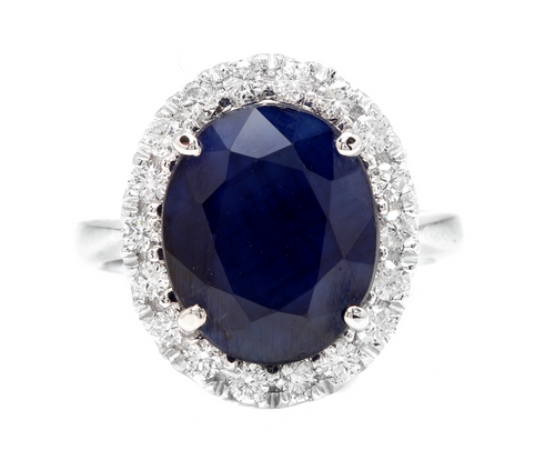 8.80 Carats Natural Sapphire and Diamond 14k Solid White Gold Ring