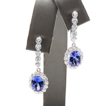 Load image into Gallery viewer, 5.25ct Natural Tanzanite and Diamond 18k Solid White Gold Earrings