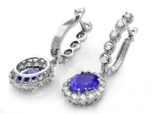 5.25ct Natural Tanzanite and Diamond 18k Solid White Gold Earrings