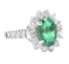 Load image into Gallery viewer, 4.30ct Natural Emerald & Diamond 14k Solid White Gold Ring