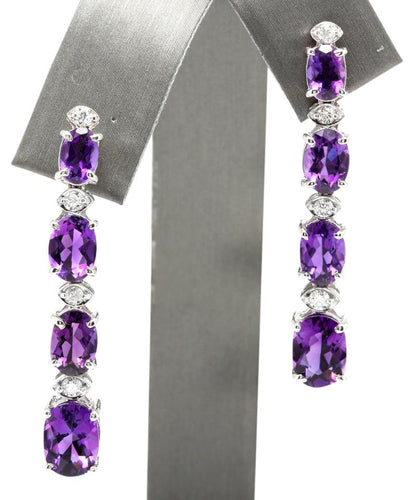 Exquisite 7.40 Carats Natural Amethyst and Diamond 14K Solid White Gold Earrings