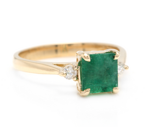 1.28ct Natural Emerald & Diamond 14k Solid Yellow Gold Ring