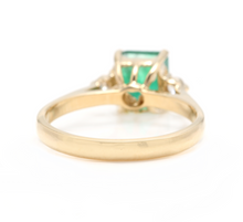 Load image into Gallery viewer, 1.28ct Natural Emerald & Diamond 14k Solid Yellow Gold Ring