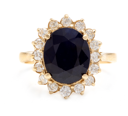 6.70 Carats Natural Sapphire and Diamond 14k Solid Yellow Gold Ring