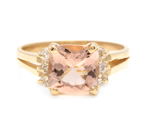 2.12 Carats Natural Morganite and Diamond 14k Solid Yellow Gold Ring