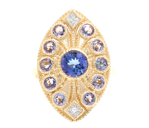 2.44 Carats Natural Tanzanite and Diamond 14k Solid Yellow Gold Ring