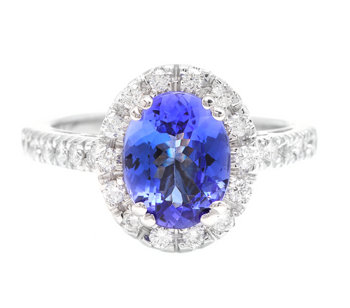 3.00 Carats Natural Tanzanite and Diamond 14k Solid White Gold Ring