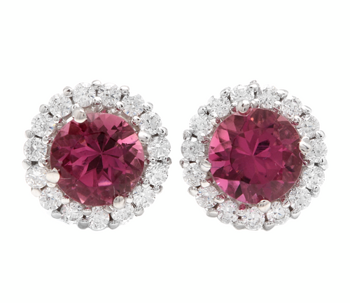1.65ct Natural Tourmaline and Diamond 14k Solid White Gold Earrings