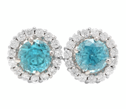 2.25 Carats Natural Zircon and Diamond 14k Solid White Gold Earrings