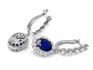 5.80ct Natural Sapphire and Diamond 14k Solid White Gold Earrings